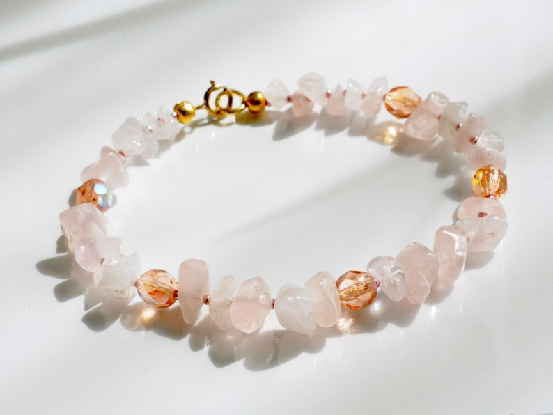 Rose quartz bracelet arm candy bracelet stackable bracelet image 0