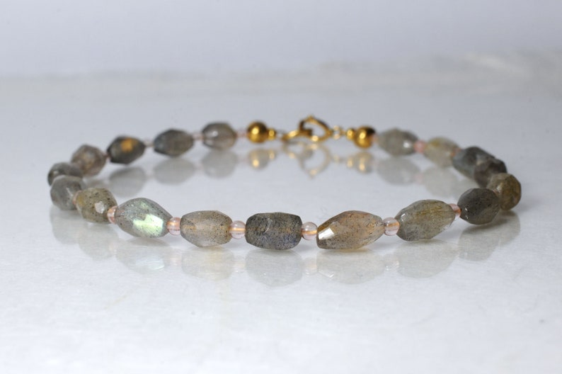 Labradorite and rose quartz gemstone bracelet arm candy image 1