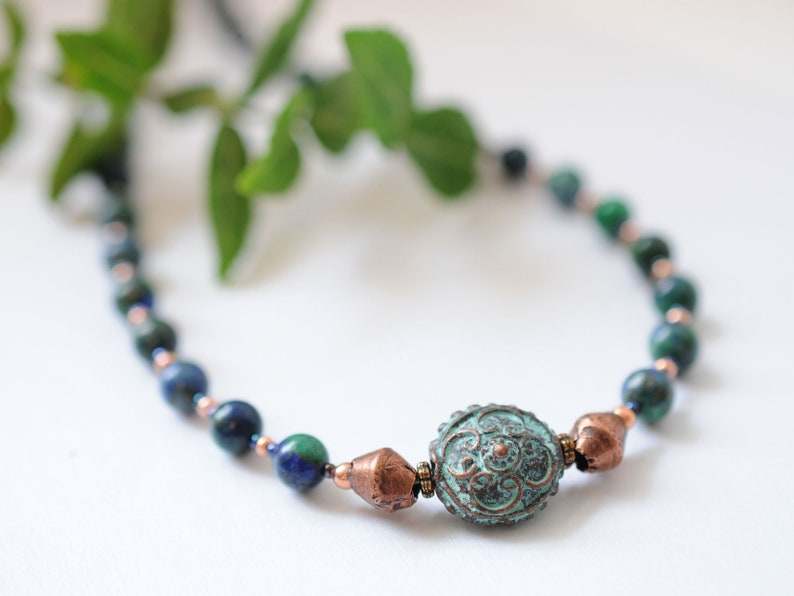 Gemstone necklace with azurite-malachite and copper beads image 1