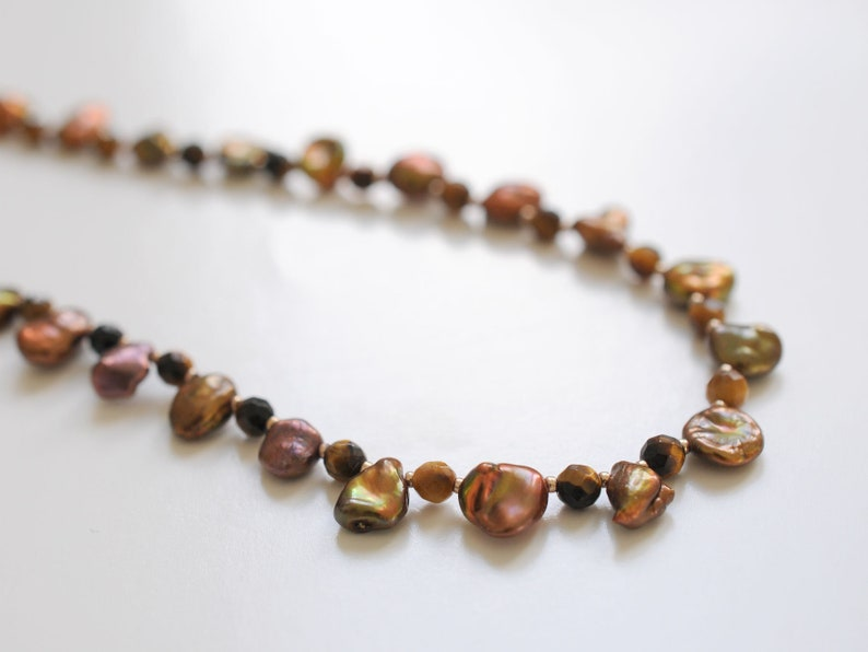 Freshwater pearl necklace with tiger's eye gemstone beads image 0