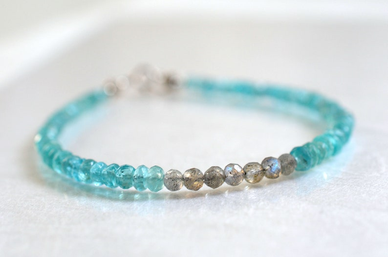 Apatite and labradorite bracelet stackable bracelet yoga image 0