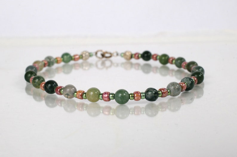 Green moss agate bracelet yoga bracelet friendship bracelet image 0