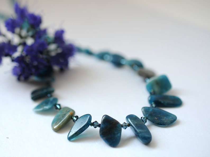Gemstone necklace with kyanite and apatite image 0