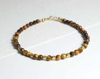 Tiger eye gemstone bracelet, yoga bracelet, stackable bracelet