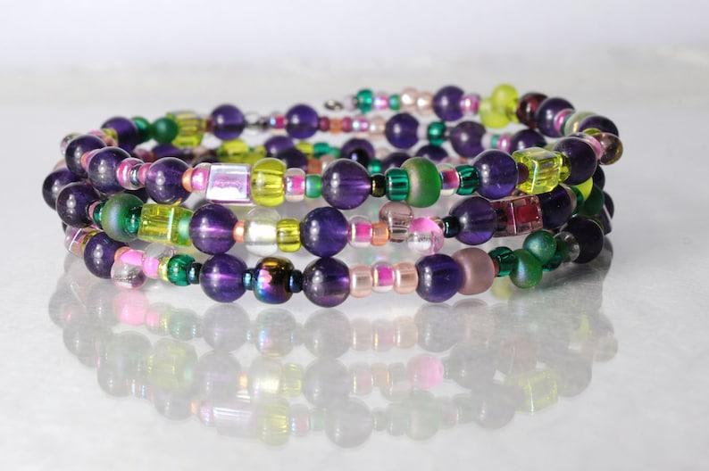 Amethyst bracelet memory wire bracelet bead soup bracelet image 1