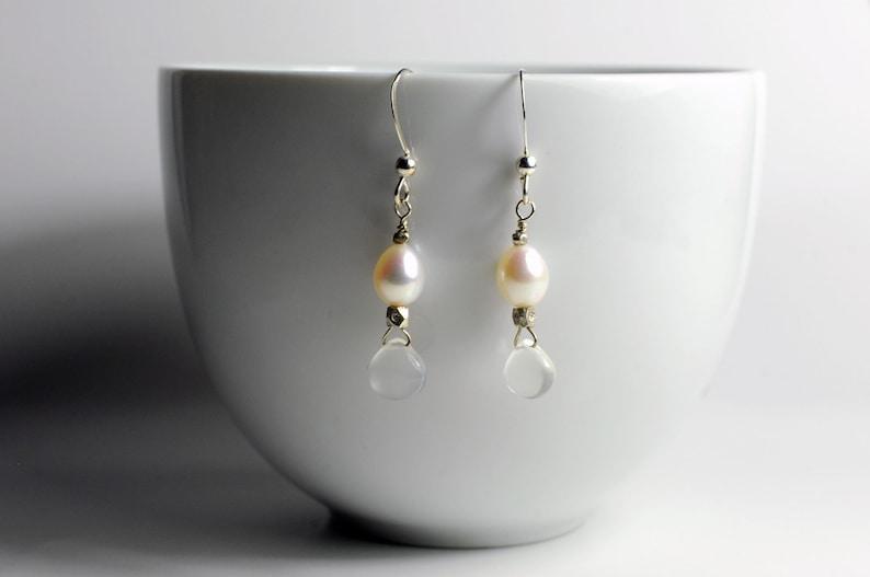 Moonstone and pearl gemstone earrings image 0