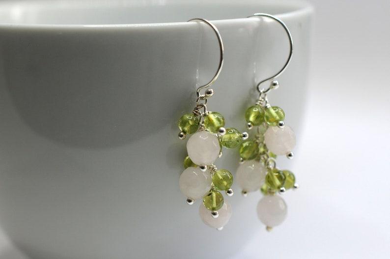 Gemstone earrings with rose quartz and peridot image 1
