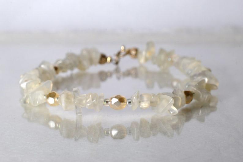 Moonstone bracelet arm candy bracelet stackable bracelet image 0
