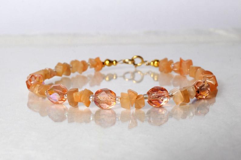 Peach moonstone bracelet arm candy bracelet stackable image 0