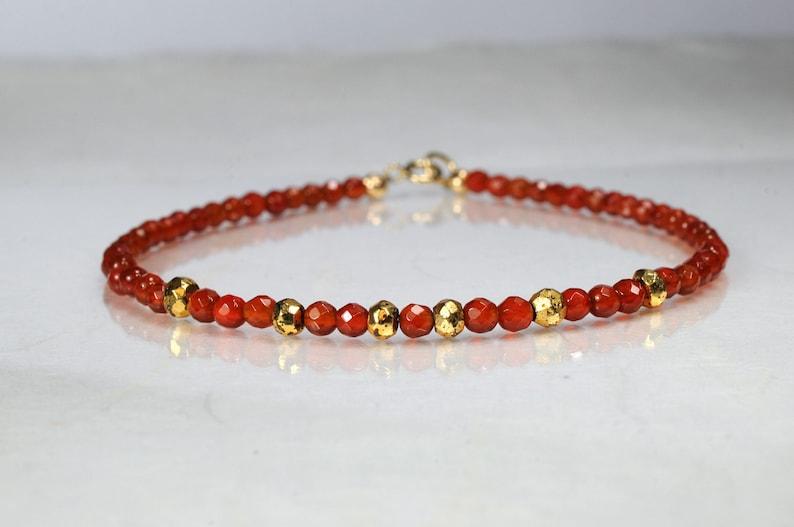 Carnelian and pyrite gemstone bracelet yoga bracelet image 1
