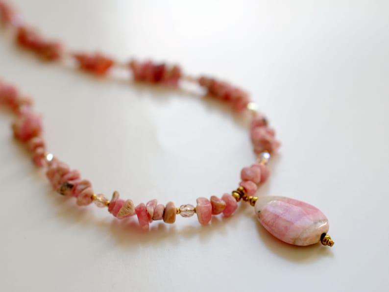 Rhodochrosite gemstone necklace image 0