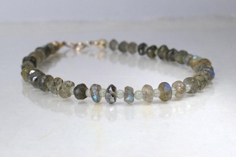 Labradorite and aventurine gemstone bracelet arm candy image 0