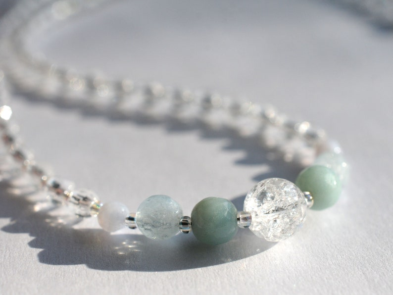 Gemstone necklace with rock crystal and blue gemstones image 0