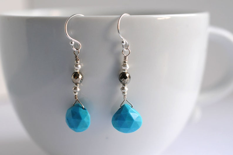 Gemstone earrings with turquoise and pyrite image 0