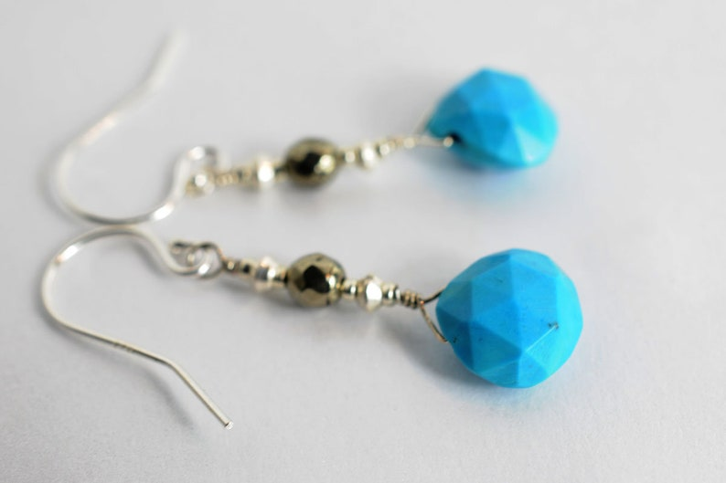Gemstone earrings with turquoise and pyrite image 1