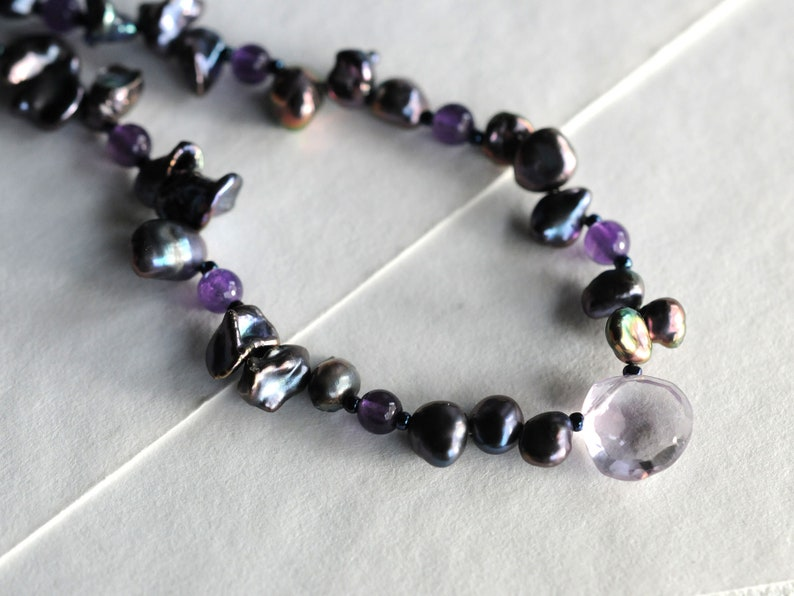 Freshwater pearl necklace with amethyst gemstone briolette image 0