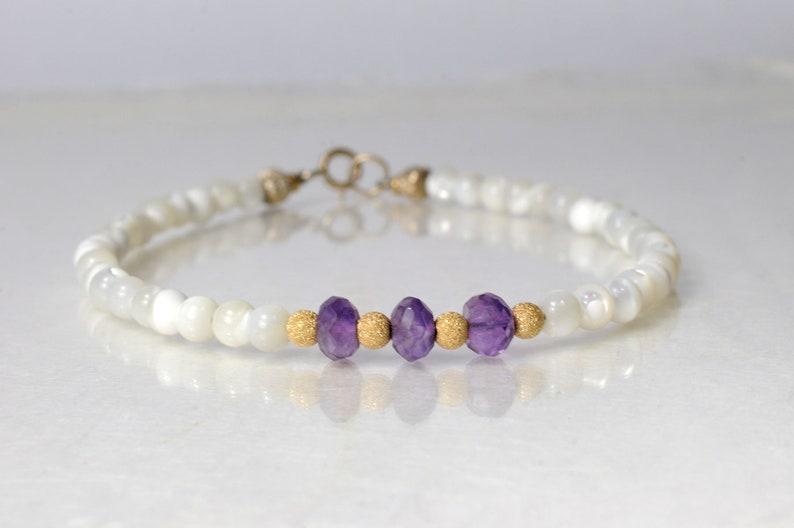 Amethyst and shell bracelet arm candy bracelet stackable image 0