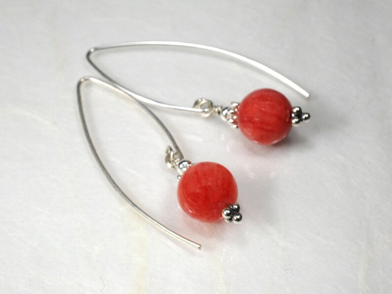 Rhodochrosite gemstone earrings image 1