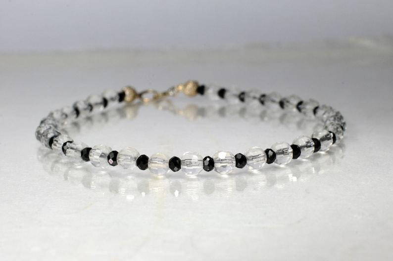 Rock crystal and spinel gemstone bracelet arm candy bracelet image 1