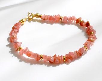 Rhodochrosite bracelet, arm candy bracelet, stackable bracelet, friendship bracelet