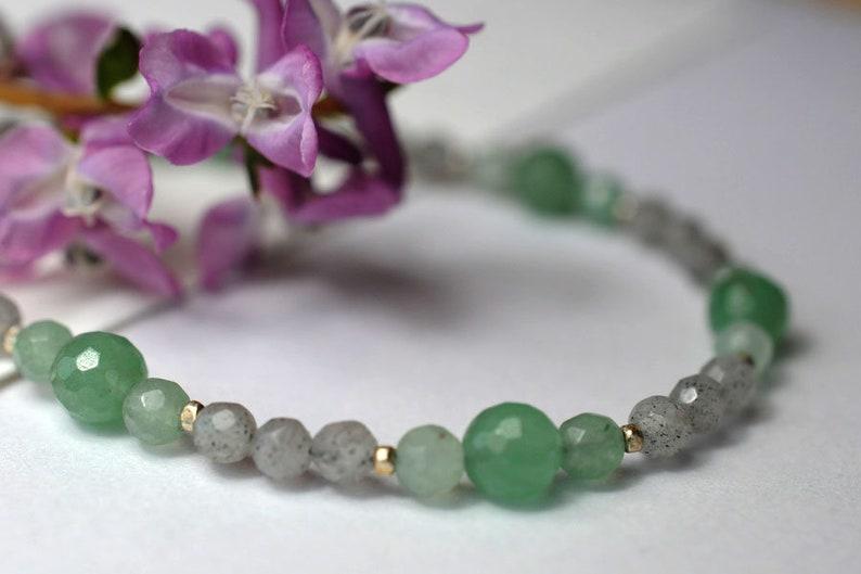 Gemstone necklace with aventurine and labradorite image 1