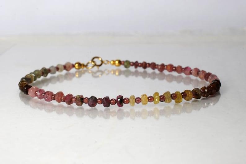 Tourmaline and garnet gemstone bracelet arm candy bracelet image 0