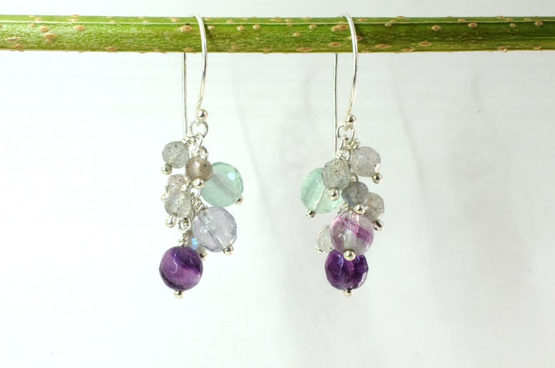 Gemstone earrings with fluorite and labradorite image 0