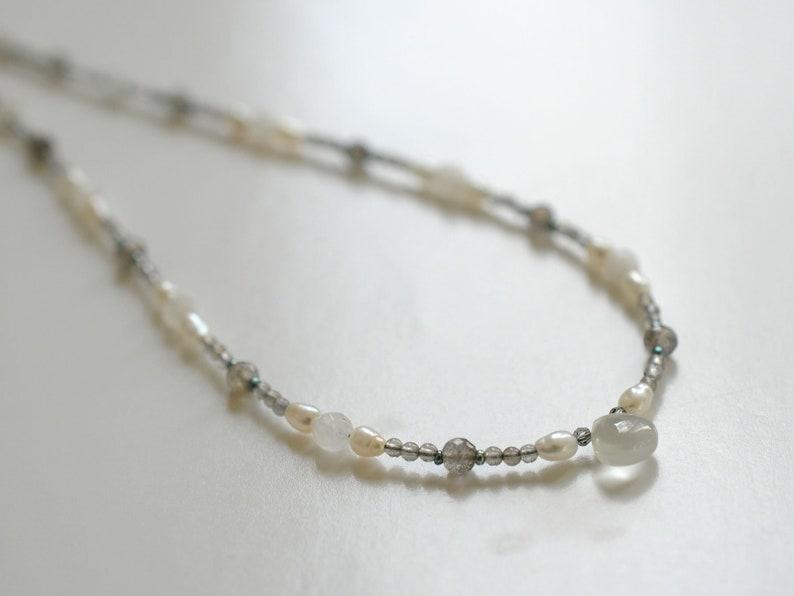 Gemstone necklace with labradorite moonstone and freshwater image 0