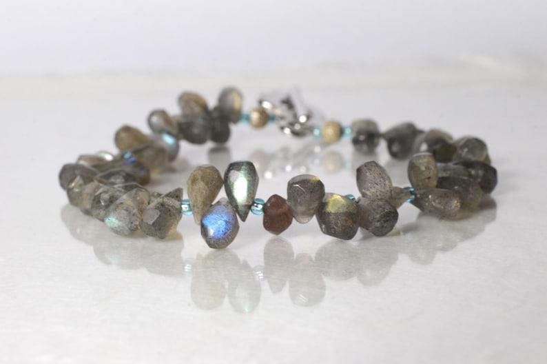 Labradorite gemstone bracelet friendship bracelet image 1