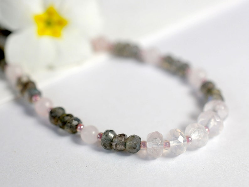 Rose quartz and labradorite necklace image 0
