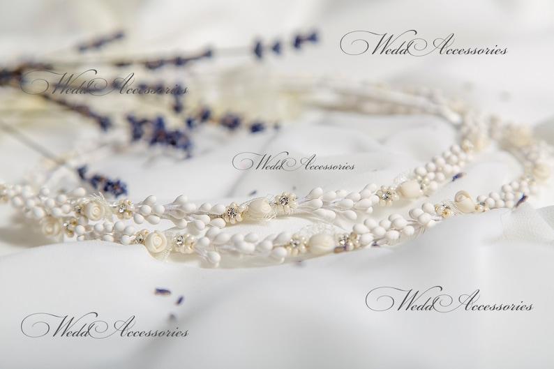 Στέφανα Stefana Handmade Greek Wedding Stephana from porcelain burgeon and  roses with flowers made from small pearls and crystals