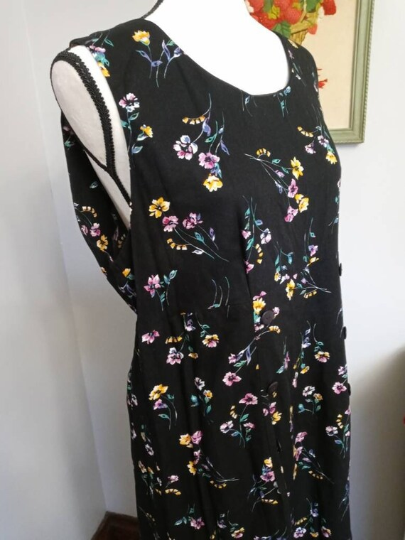 Vintage Black Floral Pattern Romper - image 1
