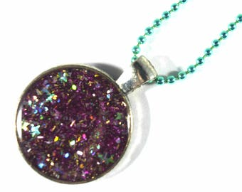 Resin necklace, resin glitter necklace, glitter necklace, circle necklace, star glitter, pink glitter resin necklace, silver glitter