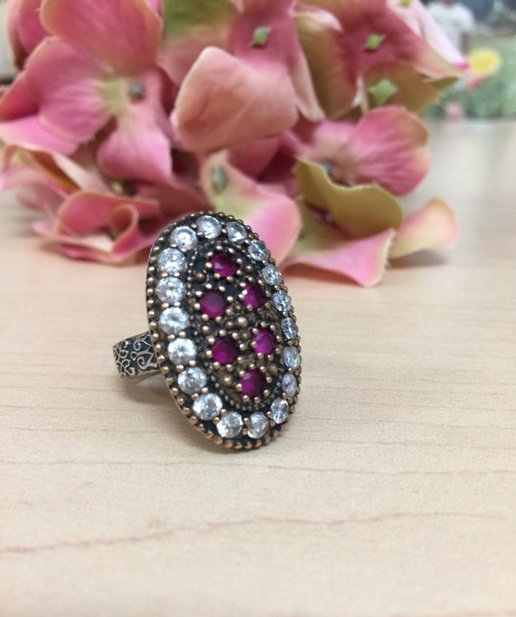 Turkish Ruby Sterling Silver Ring - image 3