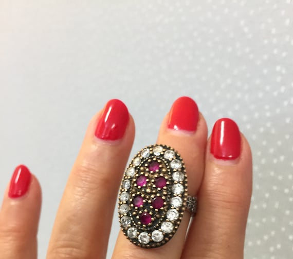 Turkish Ruby Sterling Silver Ring - image 1