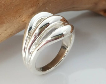 Statement ring Size 8.5,8,7.5,7 Wrap Ring Gift for her Triplet ring Infinity Loop ring Around Ring Wrap Around Ring Wrapped  ring