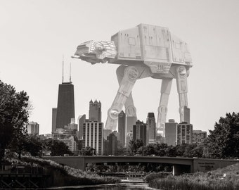 Star Wars, Imperial Walker, Lincoln Park, Chicago Photography, Black and White Photography, Chicago Skyline, Lincoln Park Imperial Walker