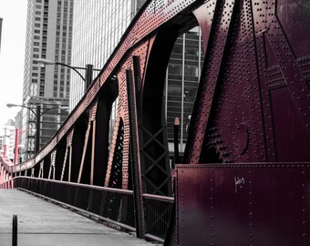 Chicago Photography, Downtown Chicago, Street Photography, Black and White Photography, Chicago Print, Fine Art -Red Chicago Bridge