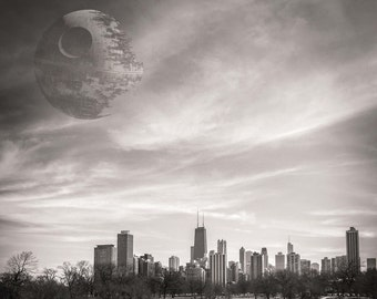Star Wars, Death Star, Lincoln Park, Chicago Photography, Black and White Photography, Chicago Skyline, Death Star over Chicago