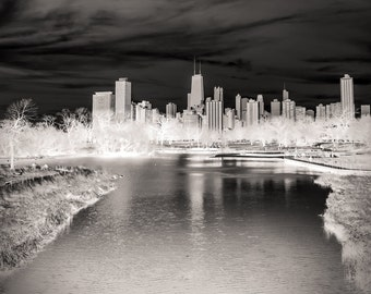 Chicago Skyline, Landscape Photography, Black and White Photography, Urban Art, Fine Art Photography - The White City