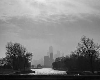 Chicago Skyline, Landscape Photography, Black and White Photography, Urban Art, Fine Art Photography, Cityscape - Chicago Silhouette
