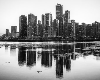 Chicago Skyline, Landscape Photography, Black and White Photography, Urban Art, Fine Art Photography - Chicago Reflection
