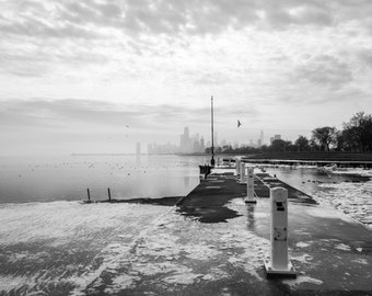 Chicago Skyline, Landscape Photography, Black and White Photography, Chicago Art, Fine Art Photography - Chicago Ice and Fog