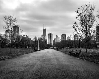 Chicago Skyline, Landscape Photography, Black and White Photography, Chicago Art, Fine Art Photography - Chicago Path