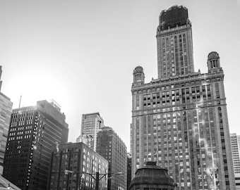 Chicago, Chicago Loop, Black and White Photography, Downtown, Street Photography, Fine Art Photography - View From Bridge