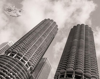 Star Wars, Millennium Falcon, Marina City, Chicago Photography, Black and White Photography, Chicago Skyline, Marina City Flyby