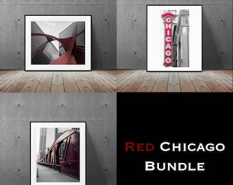Chicago Photography, Street Photography, Chicago Architecture, Black and White Photography, Fine Art Photography - Red Chicago Bundle