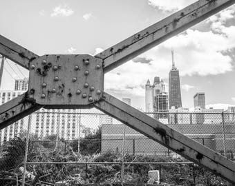 Chicago Skyline, Street Photography, Black and White Photography, Hancock Building, Fine Art Photography - Chicago Iron Beams and Hancock