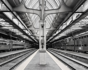 Chicago Union Station, Chicago Photography, Black and White Photography, Urban Art, Fine Art Photography - Empty Union Station Platform