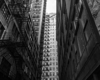 Chicago Street Photography, Cityscape Photography, Black and White Photography, Urban Art, Fine Art Photography - Chicago Alley